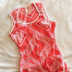 [vintage] Red zipper front sundress